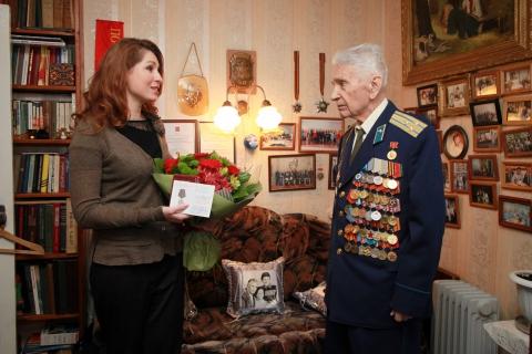 Юлия Рокотянская поздравила с 94-летием Почетного гражданина Рязани Владимира Инюцына